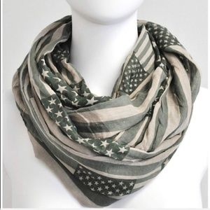 Accessories - American Flag Olive Green Infinity Scarf